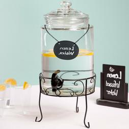 1.75 Gallon Glass Beverage Dispenser with Metal Stand and Ch