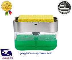 Kitchen Sink Storage Box Tray Sponge Manual Hand Press Soap