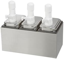 San Jamar P9713 3 Well Condiment Dispenser Pump Style Counte