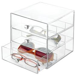 InterDesign Clarity - Stackable 3-Drawer Organizer for Glass