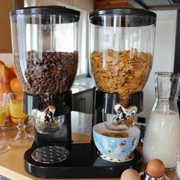 5L Double Chamber Dry Food Cereal Dispenser Airtight Kitchen