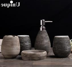 5PCS Bathroom Accessory Sets Toothbrush Holder Ceramic Tumbl