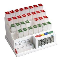 MedCenter 70265 Monthly Pill Organizer Reminder 4Daily Alarm