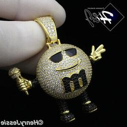 925 STERLING SILVER LAB DIAMOND ICED GOLD/BLACK MM CANDY DIS