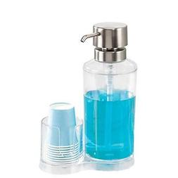 InterDesign Clarity Mouthwash Dispenser - Pump Caddy and Pap