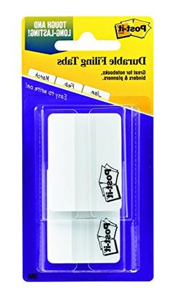Post-it Tabs, 2 in, Solid, White, Durable, Writable, Reposit
