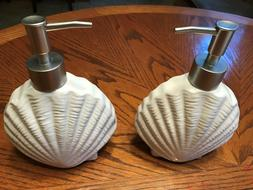 Beautiful Sea Shell Ceramic Soap Dispensers - set of two for