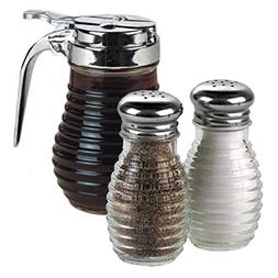 American Metalcraft Beehive Glass Syrup Dispenser with Salt