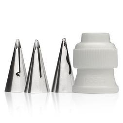 ATECO 4 PIECE CAKE DECORATING TIP SET RUFFLE TIPS 030 040 07