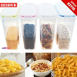 Cereal Dispenser Storage Container 4Set +Label Food Airtight