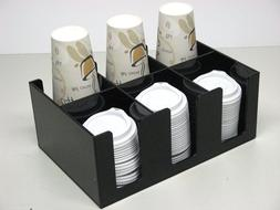 Small Coffee Cup and Lid Dispenser with 6 Sections for Count