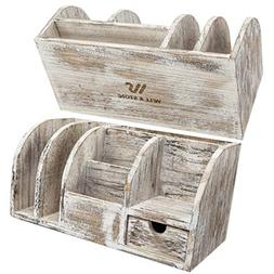 Desk Organizer Home and Office Supplies - Rustic Wood Deskto