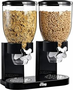 Dry Food Dispenser Dual Control Food Storage Twin Containers