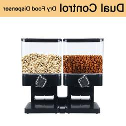 DRY FOOD STORAGE DOUBLE CEREAL DISPENSER CONTAINER DISPENSE