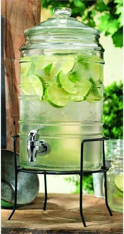 Durable Ribbed Glass Beverage Dispenser with Spigot on Stand