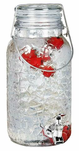 Estilo 1 Gallon Glass Mason Jar Drink Beverage Dispenser wit