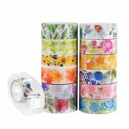 Knaid Floral Washi Masking Tape Set + Tape Dispenser, Spring