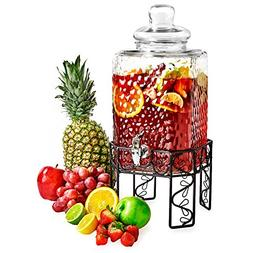 Glass Beverage Dispenser with Spigot, Steel Stand and Lid -