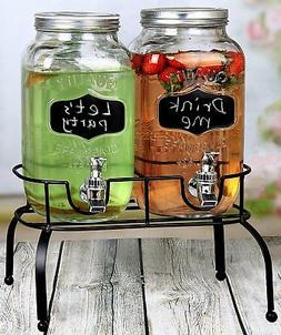 Estilo EST3095 Embo Glass Mason Jar Double Drink Dispenser w