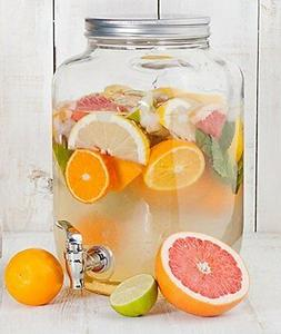 2 gallon Glass Single Mason Jar Beverage Drink Dispenser Wit