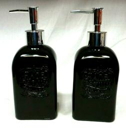 Green Harbor Square Glass Soap Lotion Dispensers - 16 oz eac