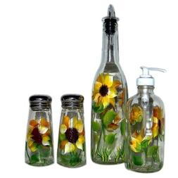 ArtisanStreet's 4-piece Hand Painted Glass Condiment Set wit