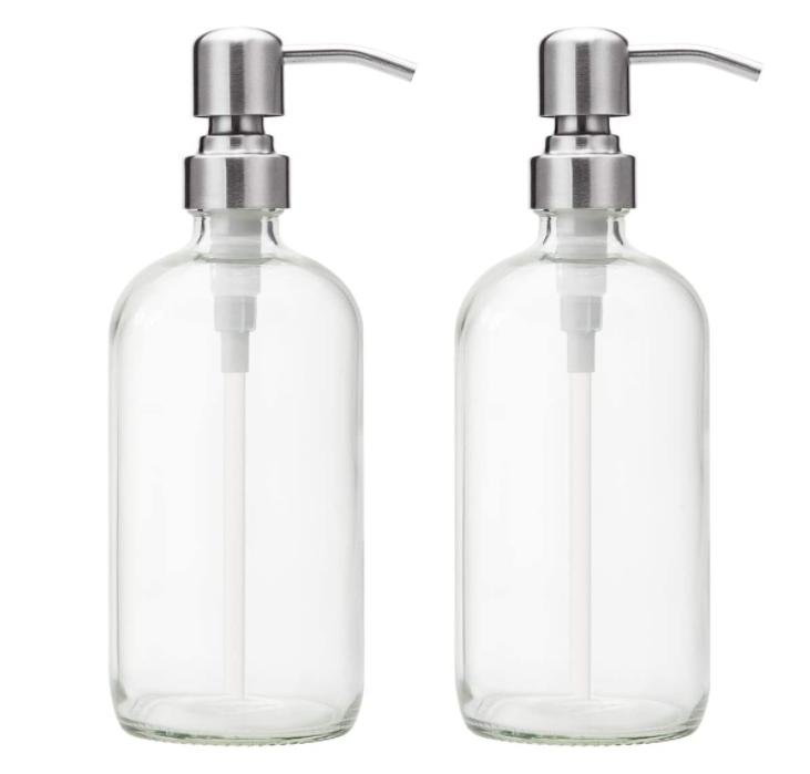 2 soap dispensers 16 oz clear glass