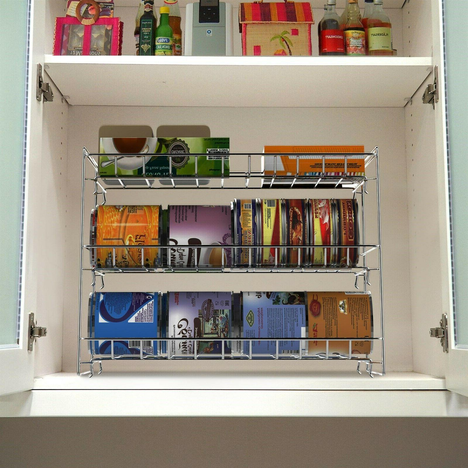 Stackable Metal Can Organizer Rack for Pantry Cupboard Cabin