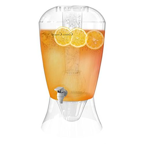 2 Gallon Drink Dispenser-BPA-Free, Shatter Detachable Stand, Lid, Cooling for Ice, and Bowl for Fruit Classic