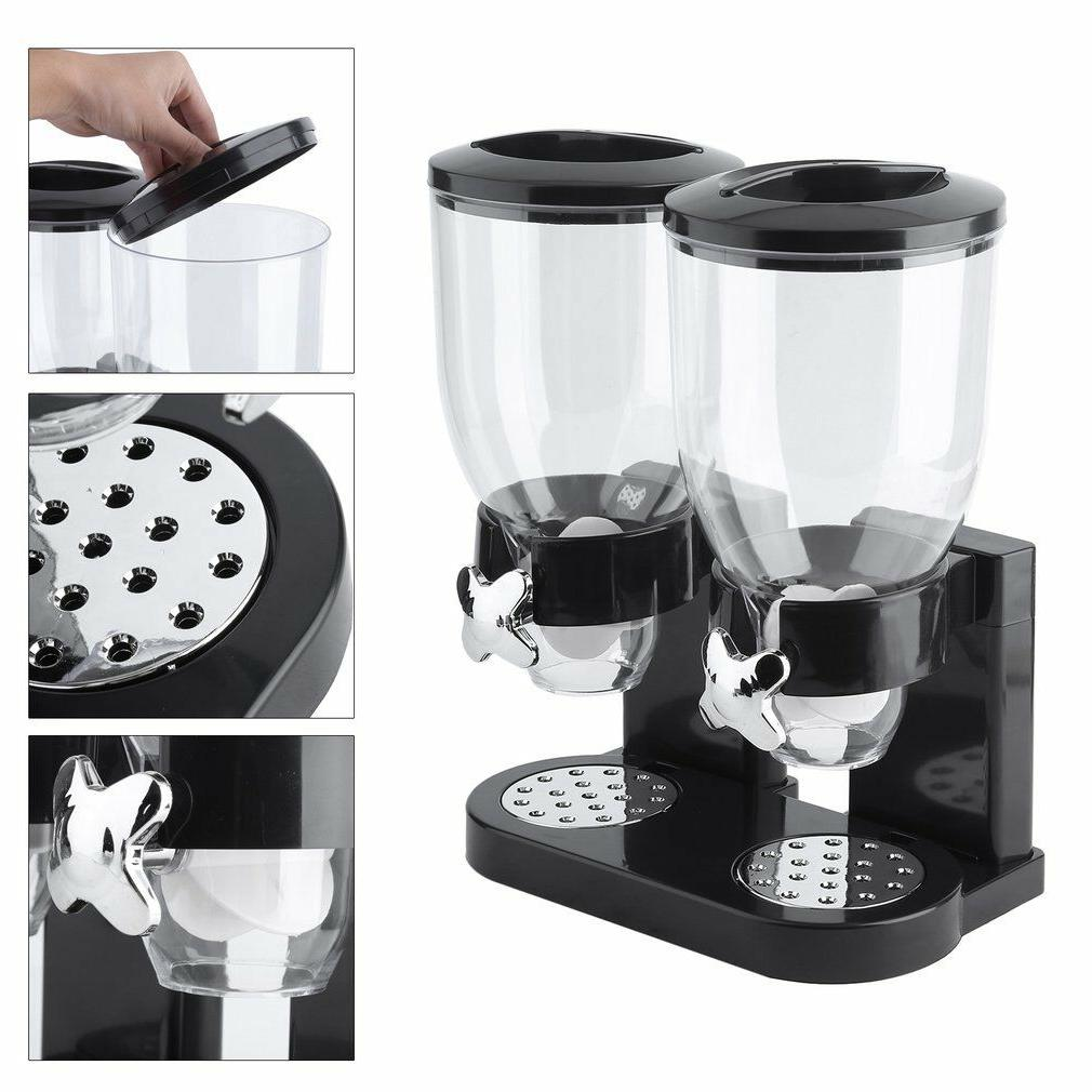 Dual Cereal Candy Dispenser Chrome Canister
