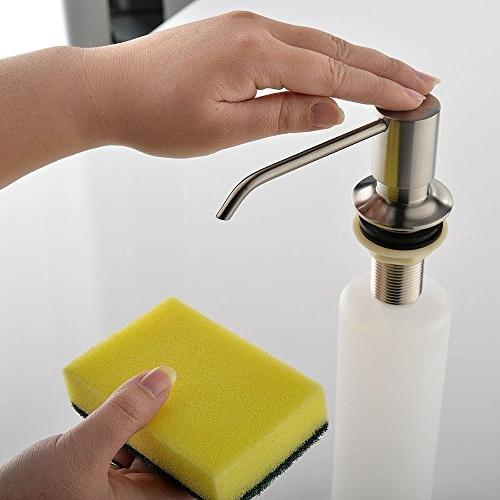KINGO HOME Sink Stainless Brushed Pump Hand Lotion Mount Built In Soap 3 Inch Reach - SATISFACTION WARRANTLY