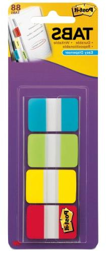 Post-it Tabs, 1-Inch Solid, Aqua, Lime, Yellow, Red, 22/Colo