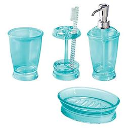 mDesign Bath Accessory Set Soap Dispenser Pump Toothbrush Ho