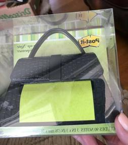 NEW POST IT Brand Black Purse Pop-Up Note Dispenser