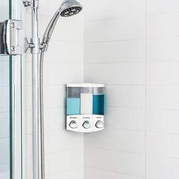 New Soap Shower Dispenser 3 Chamber Refillable Trio Wall Mou