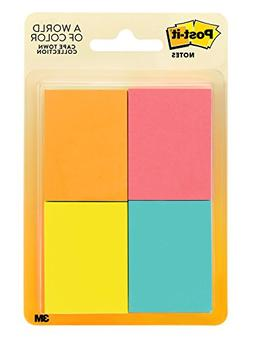 Post-it Notes, 1.5 in x 2 in, Cape Town Collection, 4 Pads/P