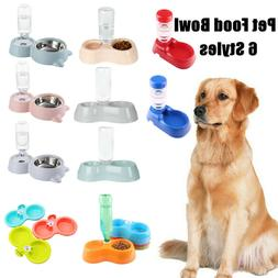 Pet Dog Cat Bowls Bottle Stand & Drinking Water Food Dispens
