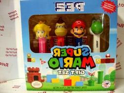 PEZ Super Mario Gift Box set with 4 PEZ dispensers and 6 pac