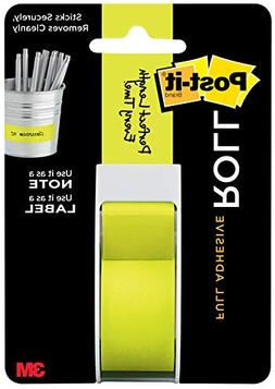 Post-it Full Adhesive Roll, 1 in x 400 in, Neon Green