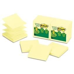 Recycled Pop-Up Notes Refill, 3 x 3, Canary YW,100 Sheets/Pa
