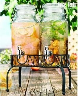 Set of 2 Glass Beverage Dispensers with Display Stand