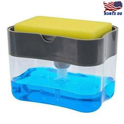 Soap Pump Dispenser & Sponge Holder for Dish Soap and Sponge