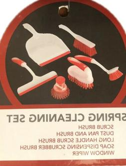 Spring Floor Cleaning Set Scrub Brush Dust Pan Window Wiper