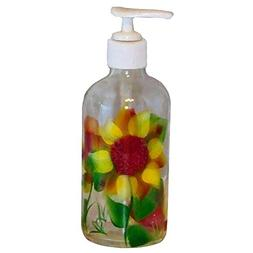 Sunflower Design on Clear Glass Soap/Lotion Pump Dispenser.