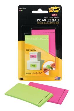 Post-it Super Sticky Pad Labels, Pink, Limeade 1 7/8-inch x