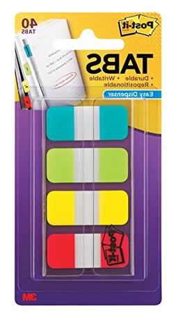 Post-it Tabs.625 in. Solid, Aqua, Lime, Yellow, Red, Durable
