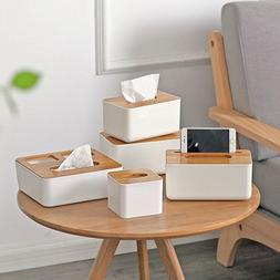 Tissue Box Dispenser Wooden Oak Cover Napkin Paper Holder Pa