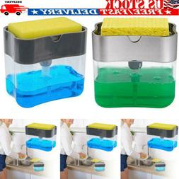 US 2in1 Soap Pump Dispenser & Sponge Holder Dish Soap Storag