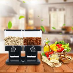 Wall Mounted Dry Food Cereal Dispenser Double Storage Contai