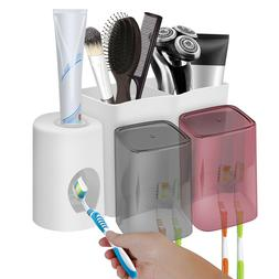 Wall Mounted Toothpaste Dispenser Toothbrush Holder Cups Bat